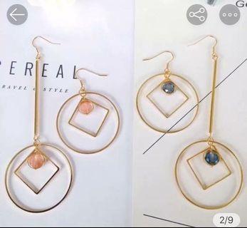 全新不對稱雙色歐美耳環