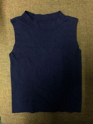 藏藍色針織背心