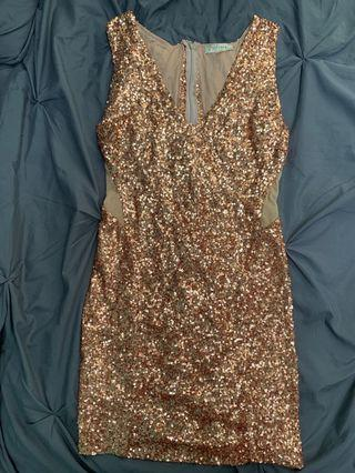 Rose gold and nude mesh Honey dress
