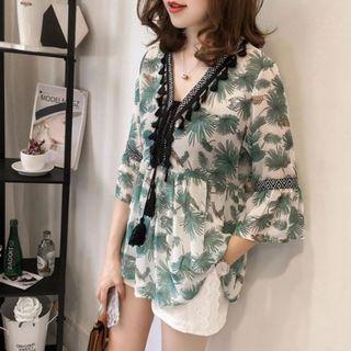 🚚 Chiffon Prints V-collar Blouse