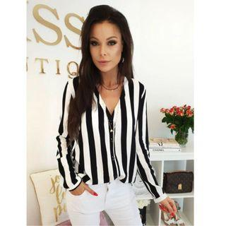 Stripe Blouse Loose Top