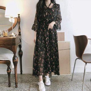 Floral Maxi Chiffon Korean style Dress