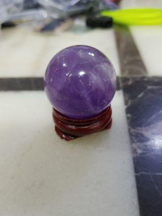 天然幸運水晶球3cm小擺設有底座