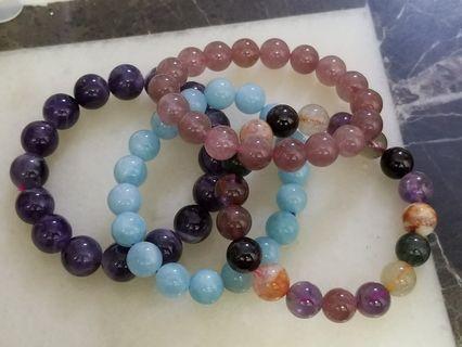 天然水晶手串草莓晶極光23海藍寶夢幻紫水晶10mm