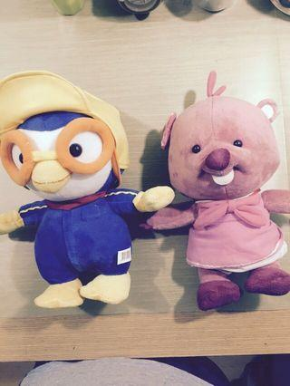 Pororo and Loopy stuffed toys