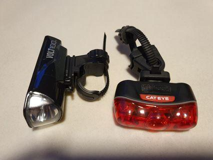 Cateye volt 100 front white light and rapid 3 red rear light