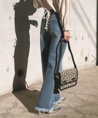 (🇯🇵日本代購) 日幣¥17,928円【AMERI】重工設計個性綁帶高腰牛仔褲 全新