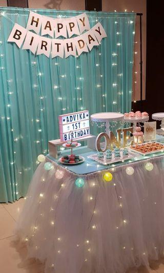 Dessert Table Backdrop - Tiffany Color Veil Curtain [RENTAL]
