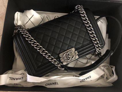 Chanel Boy Black Caviar with RHW.