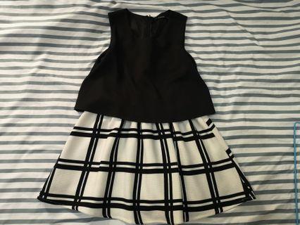 🚚 黑白短洋裝