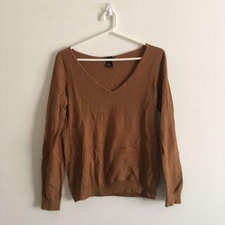V Neck Brown Sweater