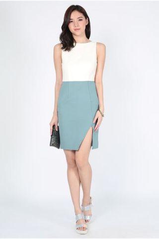 Lovebonito Belda Colourblock Dress in Seafoam - Size XS