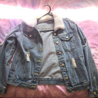 Furry denim jacket