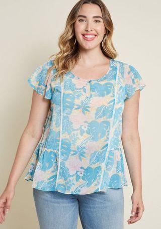 BRAND NEW PLUS SIZE MODCLOTH TROPICAL TOP