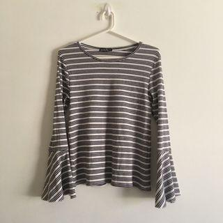 Bell Sleeved Navy and White Stripped Long Sleeve Shirt