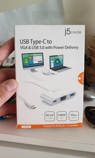 J5 Create USB-C to VGA with Power Delivery