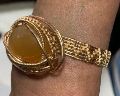 Wire Wrap Champagne Gold Plated Yellow Druzy Agate Bracelet