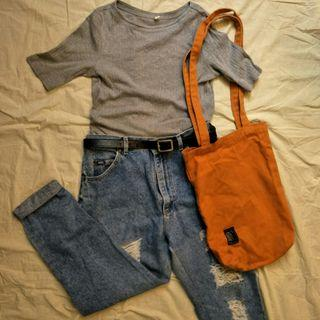 文青套裝+特色包包 LEE牛仔褲 古著 uniqlo