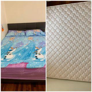 Queen size coconut fibre mattress with bed frame