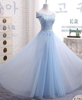 Baby blue tulle formal dress
