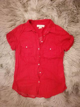 H&M Red Polkadot collar shirt