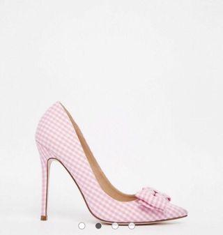 ASOS PIMLICO Pointed High Heels Pink Gingham - Size 9