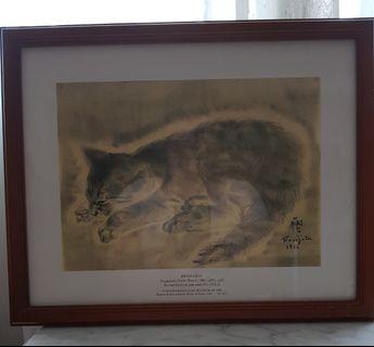 Vintage Cat Painting Print - 1926 Tsugaohara Foujita