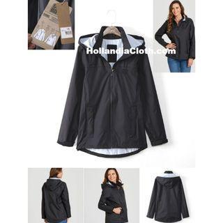 出口歐洲專業防風水雨防汚漬黑色女裝春夏季外套褸連帽-hc089