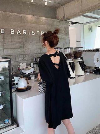 Ribbon Bow V-Back Black Dress