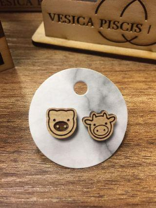 Pig and cow laser cut earrings