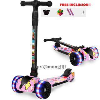 Children Scooter thick 5cm wheels! Front n back wheel light .foldable & lightweight