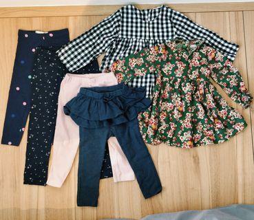 Girl Toddler Clothes Bundle of 4 Leggings & 2 Dresses