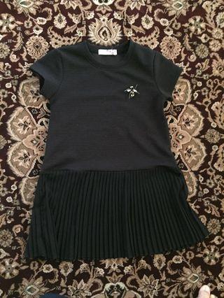 Seed Pleated Black Dress