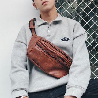 Men Fashion Trend Rivet Street Style Small Leather Sport Shoulder Bag [BlackBrown]