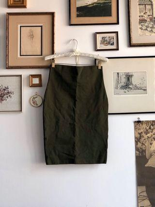 Mendocino Army green stretch pencil skirt - size S