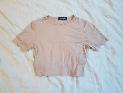 Missguided nude t-shirt crop top