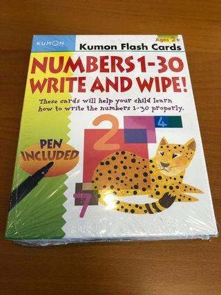 BN Kumon Flash Cards Numbers 1-30 Write And Wipe