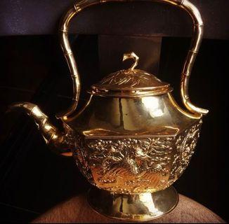 🚚 Peranakan Teapot Set - gold plated over silver.  Perfect Museum quality.