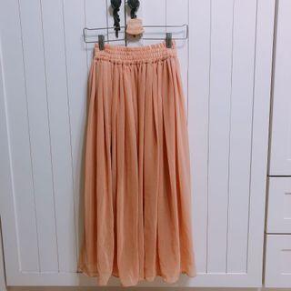 粉橘色雙層雪紡長裙