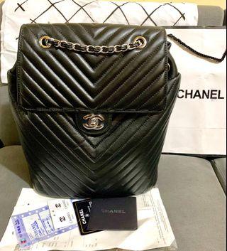 37424abb768b BNew Chanel CC Chevron Calfskin Medium Quilted Convertible Sling Bag  Backpack