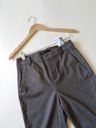 ZARA WOMAN Plaid High-waisted Trousers