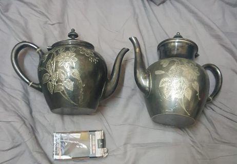 舊银質西洋茶壶一对