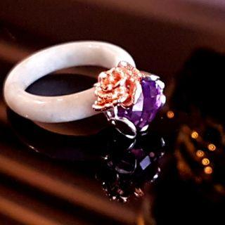 18K White Jade Ring with Rose Encase 2017-76