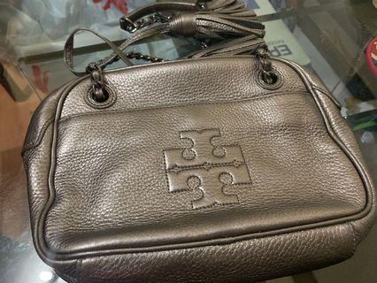 Tory Burch Thea Chain Crossbody Shoulder Bag Silver Leather 袋