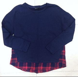 Seed fashionable check Pattern long sleeve top