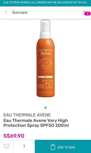 Eau Thermale Avene Very High Protection Spray SPF50 200ml