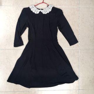 Original New Look Lace Collar Black Dress