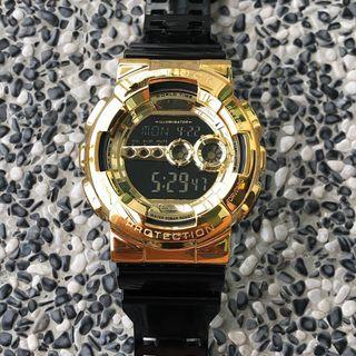 Brand new and 💯% authentic Casio G-Shock GD-100GB with Custom Stainless Steel Metal Bezel in Gold , metal g-Shock , Casio , CASIO , casio