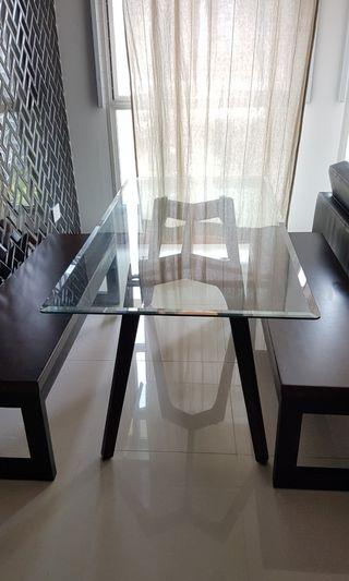 1.6m Glass dining table + wooden stand and wooden benches