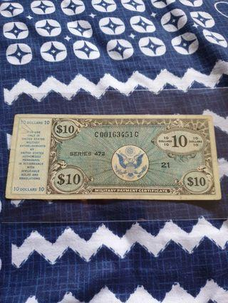 1948 Post WWII United States *Military Payment Certificate - Series 472* $10 note